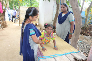 Child with cerebral palsy receiving treatment